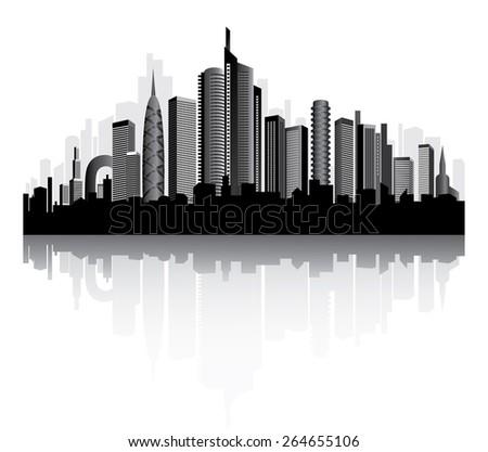 Urban vector architecture. Metropolis on the river. - stock vector