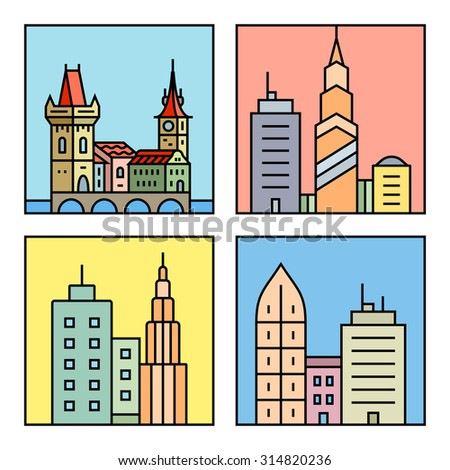 Urban vector city skyline and buildings. Cityscape icons. Vector city skyline and buildings - stock vector