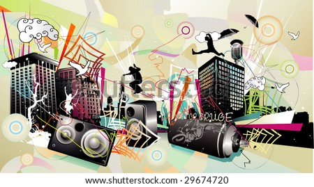 urban vector composition - stock vector