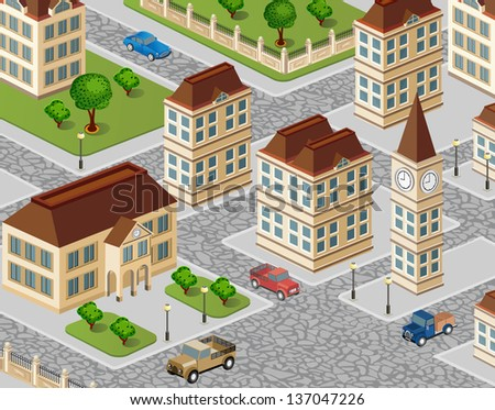 Urban view with houses and cars - stock vector