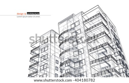 Urbanistic skyscraper. Abstract 3D render of building wire frame structure. Vector construction graphic idea for template design.Modern Building.Perspective city wiev, wide angle. - stock vector