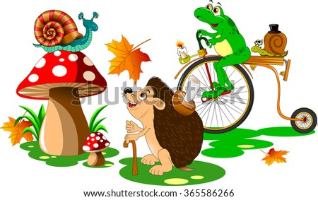 urchin, snail and frog walking in a forest glade - stock vector