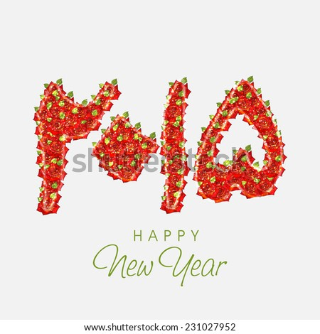 Urdu calligraphy of text 2015 decorated with red flowers on beige background for Happy New Year celebrations. - stock vector