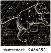 "Ursa Major - vintage engraved illustration - ""La mosaique "" edited by A.Bourdilliat  1875 - Paris - stock vector"