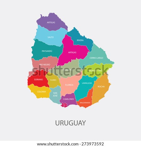 URUGUAY MAP colored with regions flat design illustration vector - stock vector