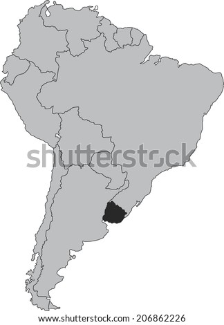 Uruguay vector map with borders of South America, isolated on white background.  - stock vector