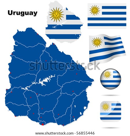 Uruguay vector set. Detailed country shape with region borders, flags and icons isolated on white background. - stock vector