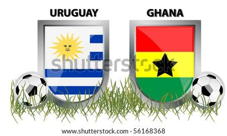 Uruguay vs Ghana - stock vector