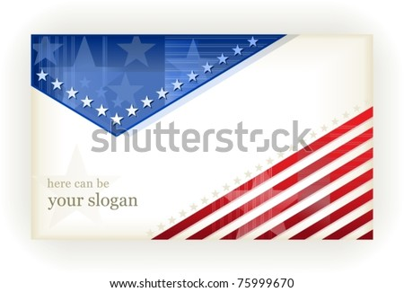 US american flag themed background, or card. No transparencies, eps8 file. Space for your text. - stock vector