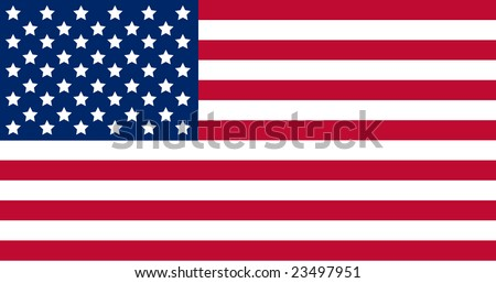 US American flag with exact official colors and proportions