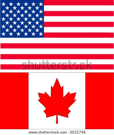 US and Canadian Flag - stock vector