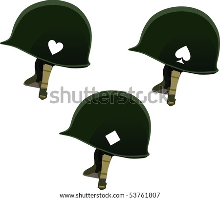 US army helmets from Second World War isolated on white background - stock vector