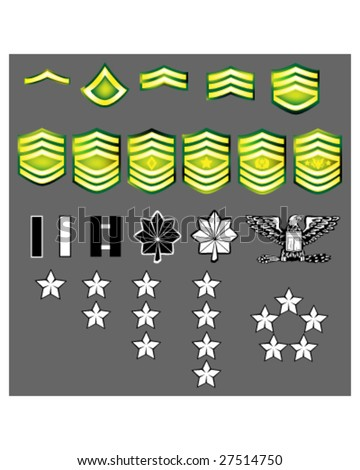 US Army rank insignia for officers and enlisted in vector format with texture - stock vector