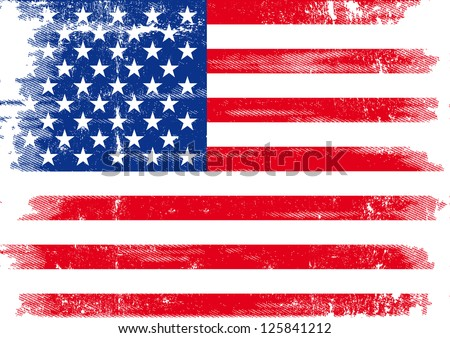 US dirty flag. An american grunge flag for you. - stock vector