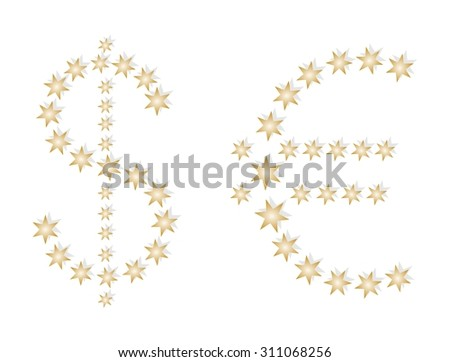 US dollar sign and euro european composed of gold stars with shadows on a white background - stock vector
