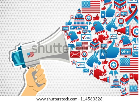 US elections politics marketing communication: hand holding a megaphone with icons splash. Vector file layered for easy manipulation and custom coloring. - stock vector