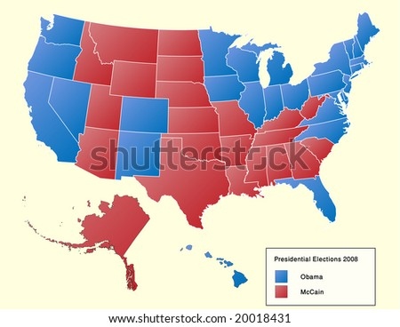 US elections vector map 2008. Shows state-by-state results of US presidential elections 2008. 55 layers, fully editable. - stock vector