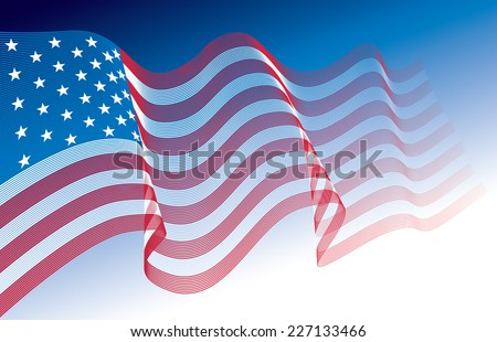US flag, blowing in the wind. Eps8. CMYK. Organized by layers. Global colors. Gradients used. - stock vector