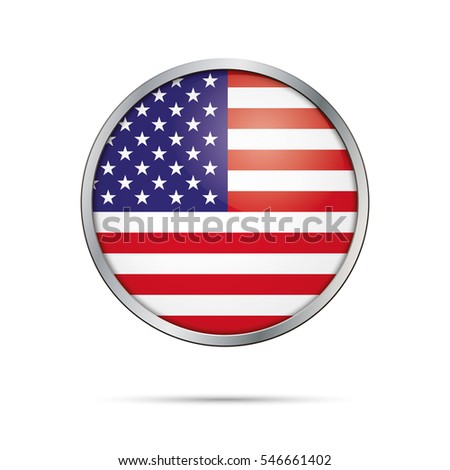 US flag glass button style with metal frame.
