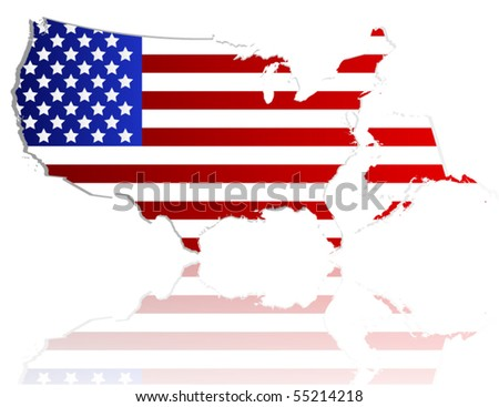 Us flag map - stock vector