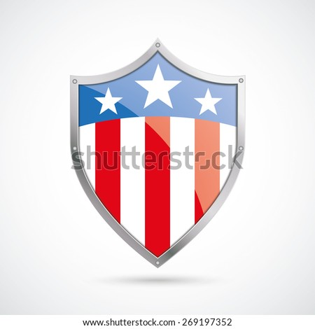 US flag protection shield on the white background. Eps 10 vector file. - stock vector