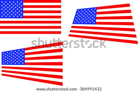 US Flag --3 versions  - stock vector