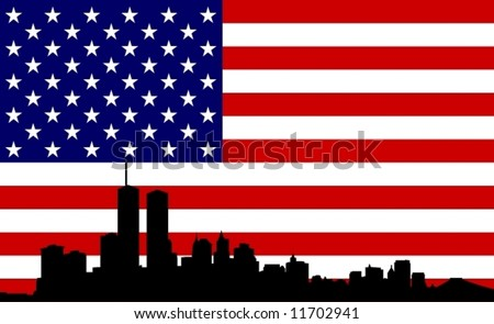 US Flag with New York in front - stock vector