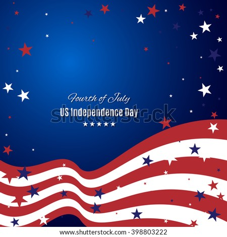 US Independence Day abstract background with American flag. Stock vector. - stock vector