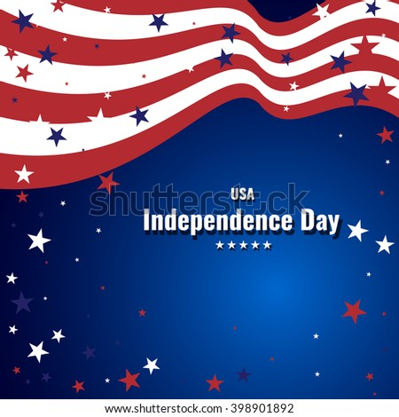 US Independence Day abstract background with american flag. Stock vector.