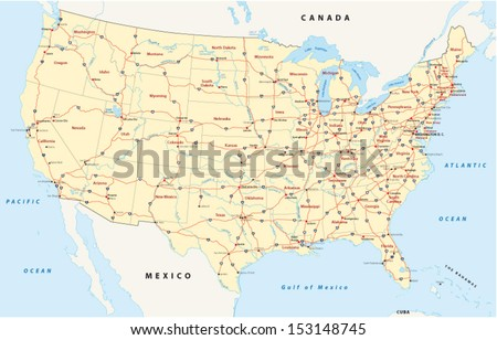 Us Interstate Highway Map Stock Vector Shutterstock - Us interstate map with cities