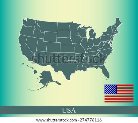 US map outlines on an abstract background, a conceptual design of vector map of United States and USA flag  - stock vector