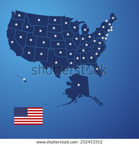 US map stars vector - stock vector