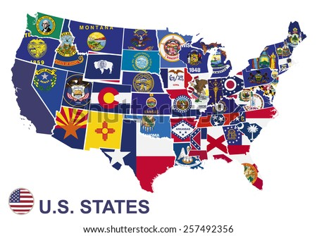 US map with flags of states, on white background - stock vector