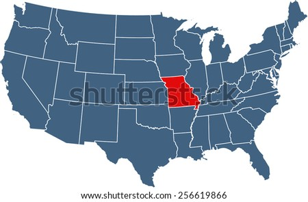US map with highlighted state of Missouri - stock vector