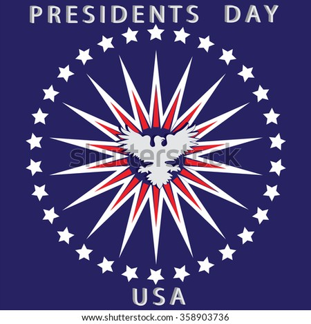 US President's Day card white eagle rays red stars on a blue background vector - stock vector