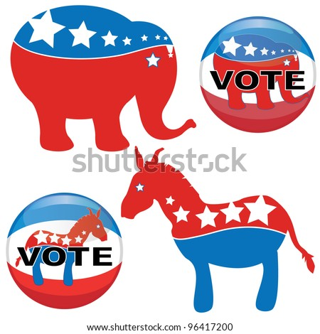 US presidential election in 2012 The democrat vs republican - stock vector