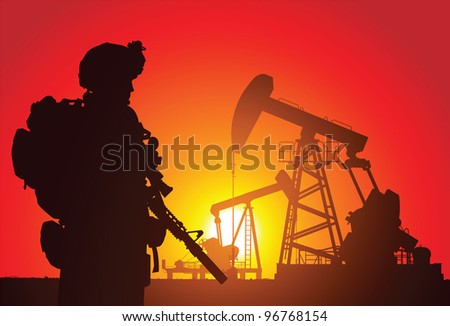 US soldier with oil rigs on the background - stock vector
