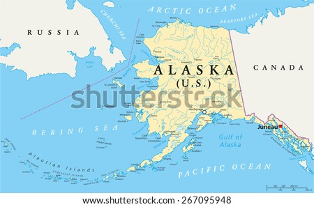 Us State Alaska Political Map Capital Stock Vector - Us and canada political map