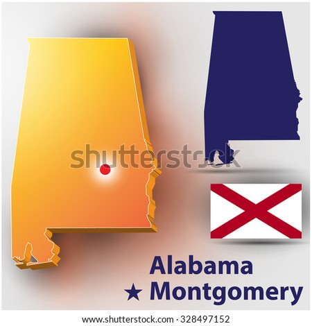 US STATE MAP Alabama. Metropolis Montgomery. - stock vector