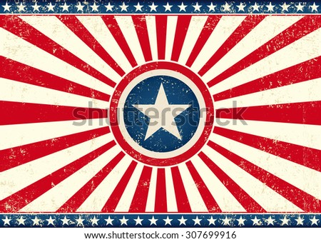 US sunbeams star horizontal flag. An american horizontal background with a big star for your publicity - stock vector