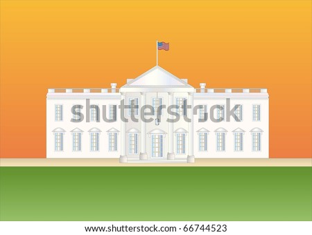 us white house at sundown ( Background on separate layer ) - stock vector
