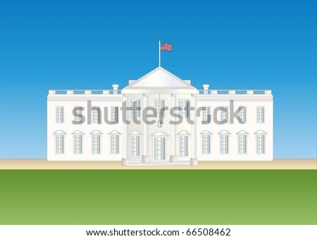 us white house ( background on separate layer ) - stock vector