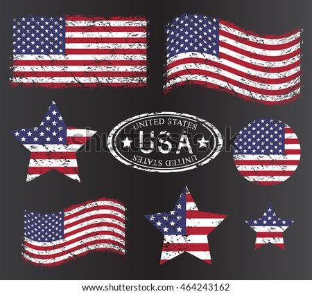 USA American grunge flag set, isolated on black background, vector illustration.