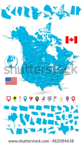 usa and canada large map and its states with flat map pointers