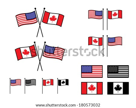 USA and Canadian Flags in various layouts. - stock vector