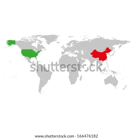 Usa china world map background vector stock vector 166476182 usa and china at the world map background vector gumiabroncs Choice Image