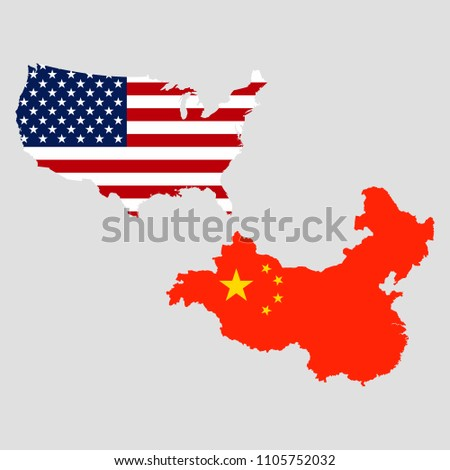 USA China Maps Stock Vector 1105752032 - Shutterstock