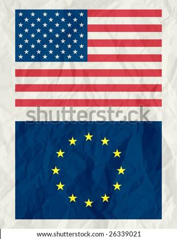 usa and euro flag ,vector illustration - stock vector