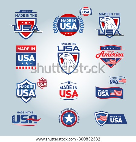 USA and made in USA icons. American made. Set of vector icons, stamps, seals, banners, labels, logos, badges. Vector illustration. - stock vector