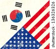 USA and south Korean grunge Flag. this flag represents the relationship  between the South korea and the USA - stock photo